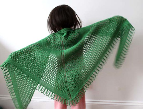 Melody modeling the Colfax Shawl