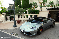 Scuderia 16M (Raphaël Belly Photography) Tags: blue paris car de french photography eos grey hotel spider riviera photographie stripe ferrari casino montecarlo monaco m belly exotic f 7d passion 16 carlo monte raphael scuderia rb spotting f430 supercars 430 raphaël principality 16m