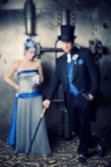 Jenny and Damon wedding April 14, 2011 (Nightdust) Tags: blue 1920s wedding birdcage hat cane oregon vintage silver portland groom bride veil dress top treasury bank tophat vault oldfashioned unfocus gentlemen bankvault tailcoat silverdress vintagewedding silverweddingdress 1920swedding birdcageveil