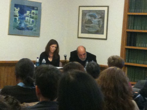 Anna Deeny (translator) and Raúl Zurita (at right)