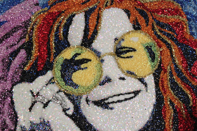 Detail of the Janis Joplin portrait my friends from Austin sent me for my 30
