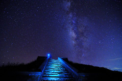 The Stair to Galaxy  (Vincent_Ting) Tags: sunset sky mountain night clouds star glow taiwan trails galaxy flare formosa   crepuscularrays startrails         milkyways          seaofclous