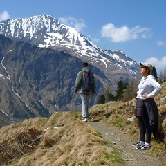 Kanitha enjoys the vista in Hohe Tauern National Park (Bn) Tags: park blue shadow wild sky sun snow mountains alps green nature water walking landscape geotagged heidi austria golden spring woods topf50 rocks afternoon eagle farmers hiking farm wildlife meadows falls adventure evergreen alpine national valley vista goldenvalley gras rays peaks lush spar viewpoint spruce larvae finest seekers marmots hohe rauris lariks naturfreundehaus primeval unspoilt tauern 50faves kolmsaigurn hohersonnblick rauristal ritterkopf bartgeier beardedvulture 1650m naturfreundeweg bucheben wanderparadies 3106m dastaldergeier highsonnblick kolmsaigum geo:lon=12989177 geo:lat=47056981