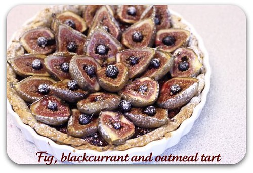 Fig, blackcurrant and oatmeal tart