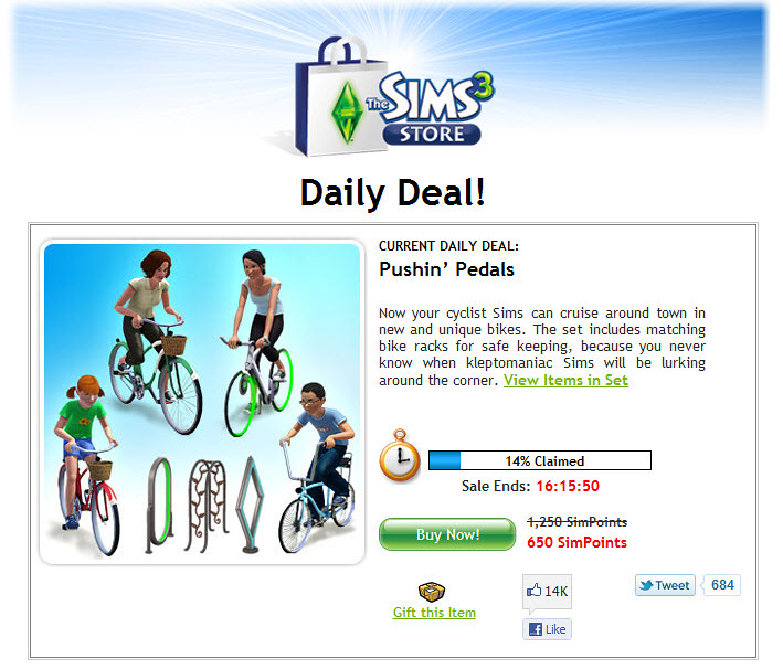 The Sims 3 Store Daily Deal Pushin' Pedals