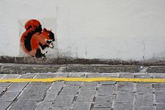 Red Squirrel (Richard Reader (luciferscage)) Tags: street london art graffiti stencil july banksy cobbles 1107 redsquirrel yellowline 2011 nikond700 richardreader