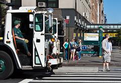 Pickup day (Robbing Peter) Tags: nyc newyork corner streetphotography subwaystation six garbagetruck garbageman sanitationworker pickupday