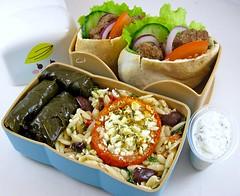 Greek Bento (Cathryn3) Tags: tomato lunch greek salad cucumber gyros lettuce lamb bento oregano feta redonion pita orzo tzatziki dolma kalamata dolmades