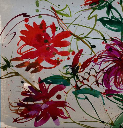 Dahlias, brushy, detail