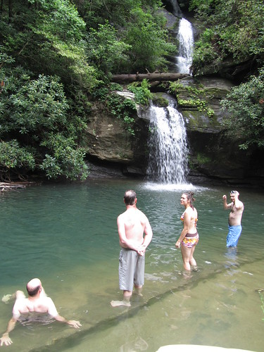 swimming and hanging out by the waterfall
