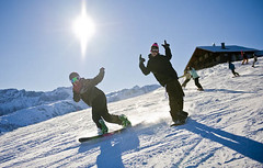 Snowboarding (erwin1964) Tags: winter sun snow mountains sport kids youth snowboarding person switzerland outdoor board bluesky hut human alpine snowboard shelter snowboarder 2009 boarding erwin alpinehut mountainshelter youngperson zueger erwinzueger