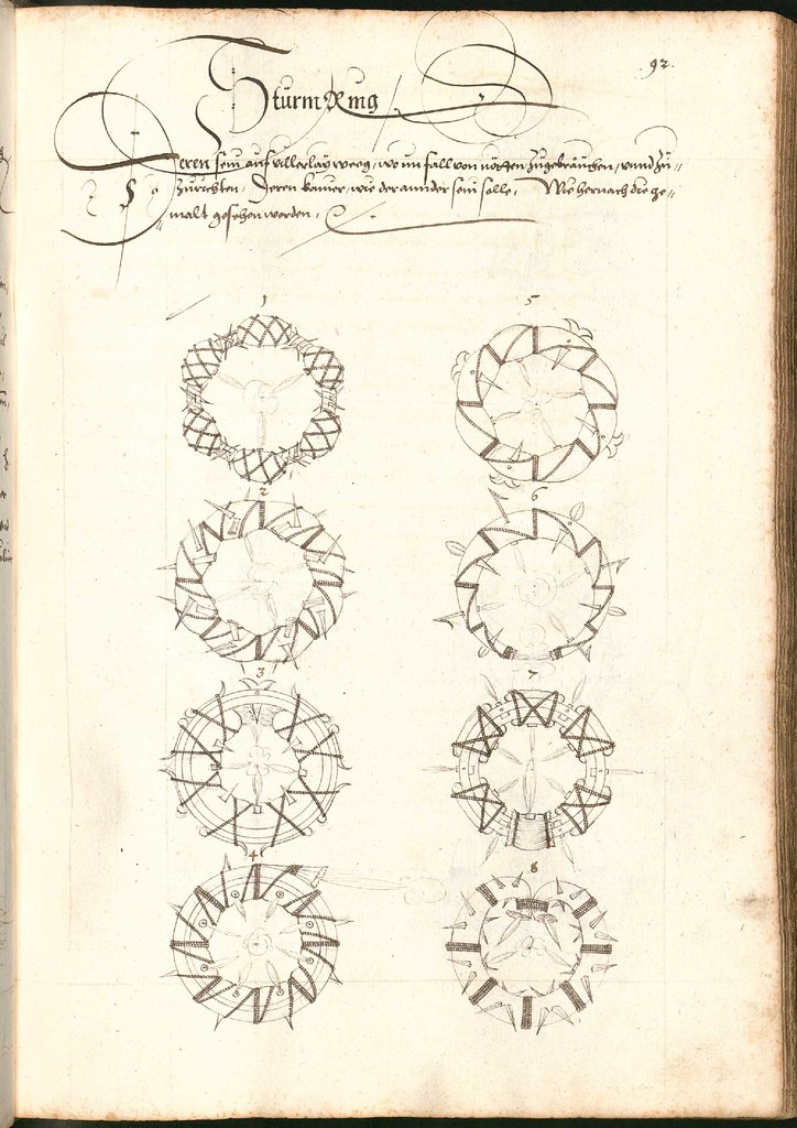 Early Modern manuscript warfare drawing -  Artilleriebuch 1582 BSB e