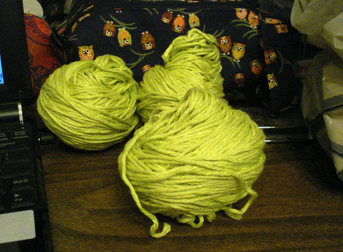 Knit Picks Shine worsted cotton modal green colour in centerpull balls