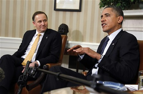 President Barack Obama, right, with New Zealand's Prime Minister John Key, delivers a statement in the Oval Office of the White House in Washington following their meeting Friday, July 22, 2011.  (©AP Photo/Manuel Balce Ceneta)