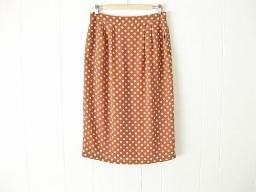 brown polka dot pencil skirt
