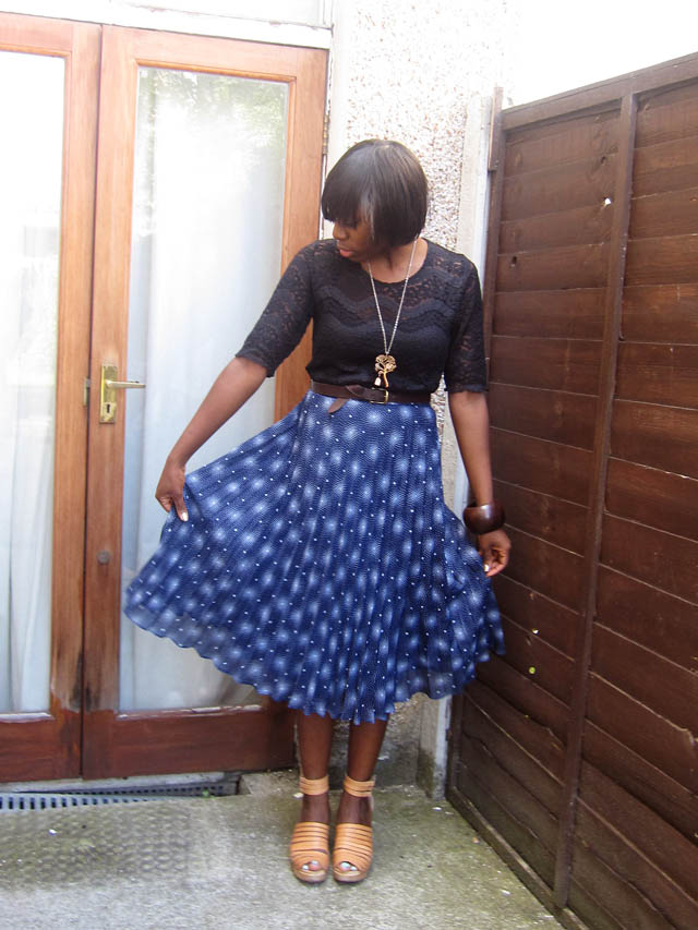 vintage lace top blur starburst midi skirt