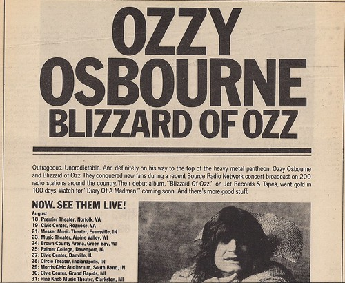 August-September 1981 Ozzy Osbourne Tour Ad (Top)