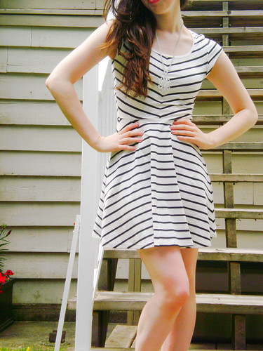 striped dress body shot