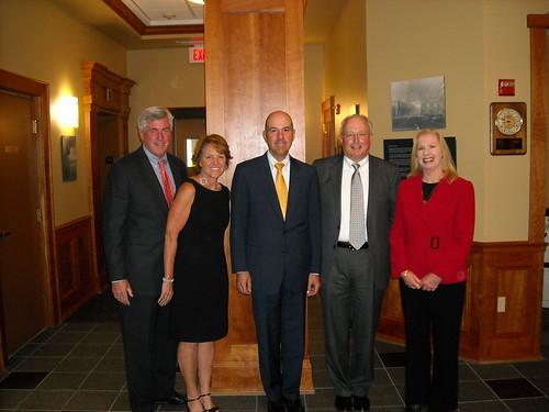 (left to right) Bangor Savings Bank Executive Vice President and Chief Banking Officer John Edwards; Pine State Trading Co. Director of Trade Relations Gena Canning; Under Secretary of Commerce for Intellectual Property and Director of the United States Patent and Trademark Office  David Kappos; Bangor Savings Bank President and Chief Executive Officer James Conlon; and USDA Rural Development State Director Virginia Manuel