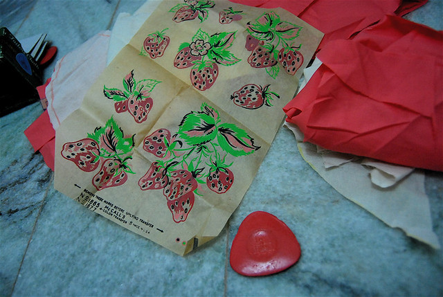strawberries print transfer