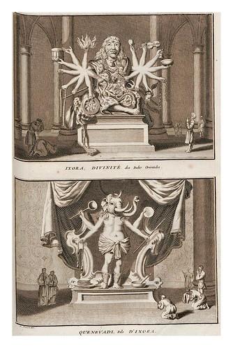 017- Ixora y Quenevadi idolos de las Indias Orientales-Ceremonias et coutumes religieuses de tous les peuples du monde 1741- Bernard Picart-© Universitätsbibliothek Heidelber