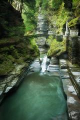 Bridge Over Water (MDanielsonPhoto) Tags: statepark bridge green water stone waterfall spring aqua turquoise upstatenewyork gorge ithaca fingerlakes roberthtremanstatepark fingerlakeregion