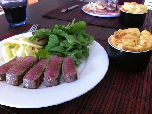 Steak, Potato Souffle & Apple Fennel Slaw