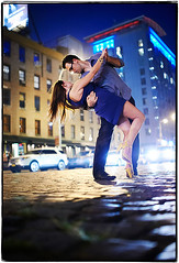 Dancing in the Streets (Ryan Brenizer) Tags: nyc wedding woman man love night engagement nikon dancing manhattan 35mmf14g d3s