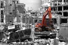 Demolition (shotlandka) Tags: orange monochrome photoshop scotland glasgow machine demolition selectivecolour canoneos500d mygearandme ringexcellence