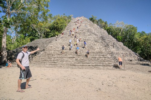 Anthony at Nohoch Mul Pyramid