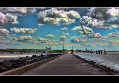 Hook of Holland (Wim Koopman) Tags: bridge sea sky holland water netherlands dutch weather skyline clouds photography pier photo waves cloudy walk jetty dunes sony stock nederland cybershot blocks hook basalt stockphoto stockphotography wpk