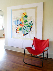 Design Wall (kitschcafe) Tags: red brown house black home wall corner chair quilt sewing crafts craft sew quilting quilts woodenfloor interiordesign homedecor crafting whitewall woodfloor midcenturymodern mcm artquilt designwall modernquilt studioquilt