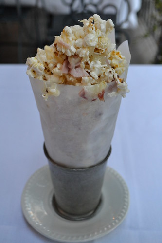 Popcorn with ham and swiss