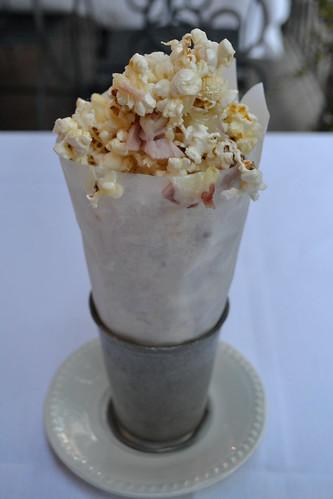Popcorn with ham and swiss
