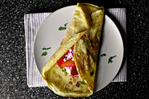 sugar plum crepes, ricotta, mint