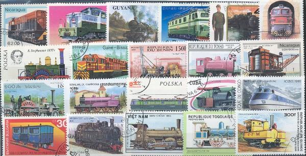 Známky - 100 rôznych, vlaky - železnice