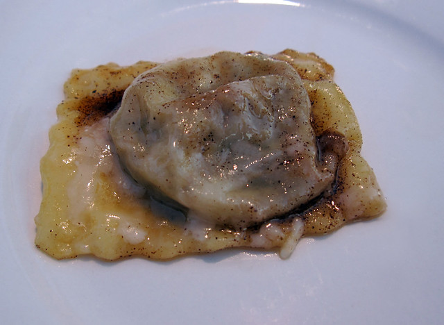 Pork cheek and lentil ravioli with brown butter sage