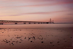 Mackinac Bridge at Sunset (David Alan Robillard) Tags: sunset water michigan bigmac mackinacisland mackinacbridge northernmichigan mightymac northernmichigansunset davidrobillard