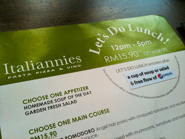 Italiannies Let's Do Lunch Menu
