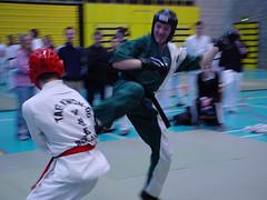 IUTF Intervarsities - UCD Sports Centre (February 2002) (irlLordy) Tags: 2002 ireland dublin club kick taekwondo february spar tkd iutf ucd sportscentre fearghal intervarsities mrohaodha