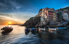 A Riomaggiore Sunset - (Cinque Terre, Italy) (blame_the_monkey) Tags: travel sunset italy architecture reflections coast europe liguria cinqueterre portfolio riomaggiore 5terre fivelands 5lands