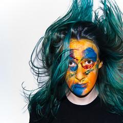 (evilibby) Tags: portrait girl makeup human libby 365 facepaint bluehair hairflip greenhair hairtoss 365days 3654 turquoisehair 365days4 mfimc