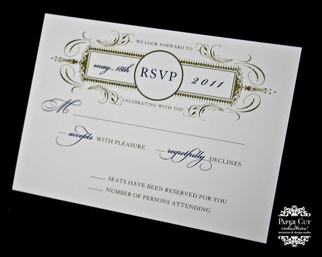 Navy Blue and Gold Envelopments Wedding Invitation