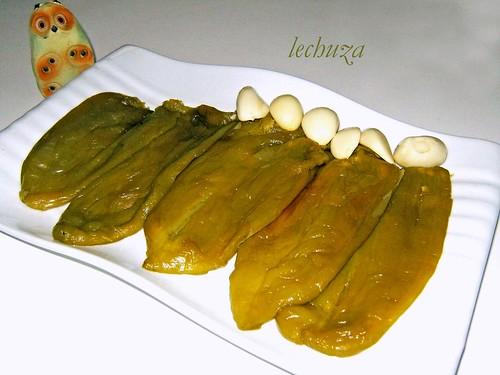 Bacalao en salsa de pimientos verdes-pimientos