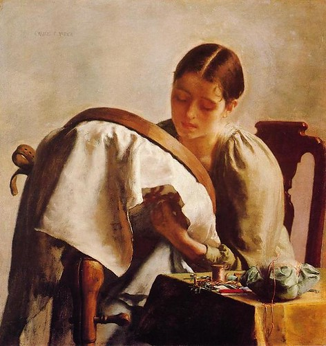 Young Girl Embroidering
