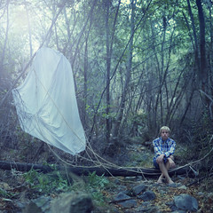 Fate's broken parachute. (David Talley) Tags: lighting blue fallleaves mist green fall leaves fog forest vintage lens woods rocks lensflare indie flannel tones hue parachute yeahiskippedyesterdaysooorrrryy jometsonscott