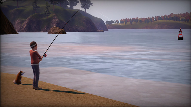 The Sims 3 Pets Boy and Shiba Inu Fishing