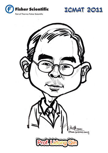 Caricature for Fisher Scientific - Prof. Lidong Qin