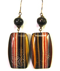 Scrap Clay Vertical Striped Earrings with Black Carved Horn Bone Beads