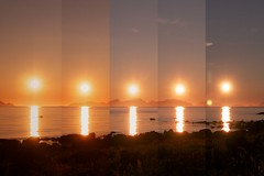(808) Mitternachtsonne als Collage (avalon20_(mac)) Tags: travel light sunset sea sky sun nature water norway night sunrise reflections geotagged golden coast europe nacht midnight 500 mitternachtssonne eos40d 40deurope